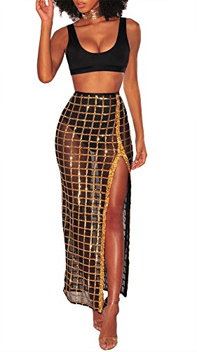 Remelon Womens Sleeveless Crop Top Glitter Sequin Mesh Side Split Maxi Skirt Set Bandage 2 Piece Dress Outfits Black (Sheer Outfit)