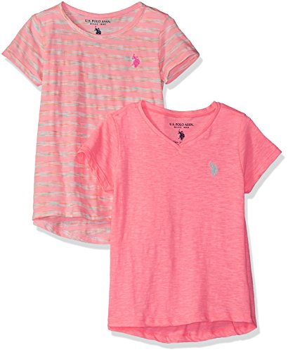 U.S. Polo Assn. Girls' Big 2 T-Shirt, Pack Apricot Stripe Coral V Neck Multi, 14/16