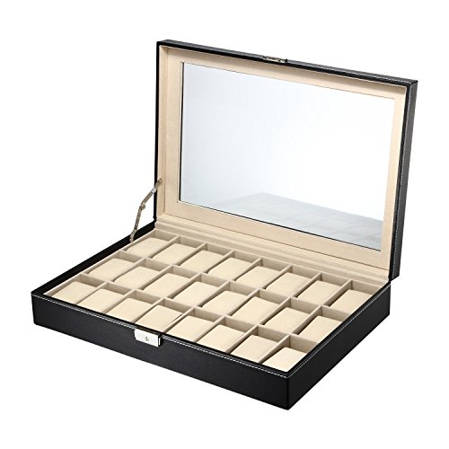 LCH Luxury Watch Box 24 Slots PU Leather Display Jewelry Case Organizer (Jewelry Display Case 24 Slot)