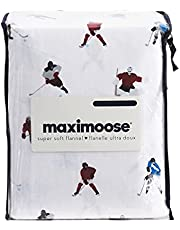Maximoose Hockey Sheet Set 100% Cotton Flannel (Queen Size) Hockey Players