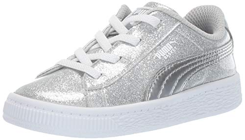 PUMA Girls' Basket Metallic Sneaker Silver-grayviolet-White 4 M US Toddler ()