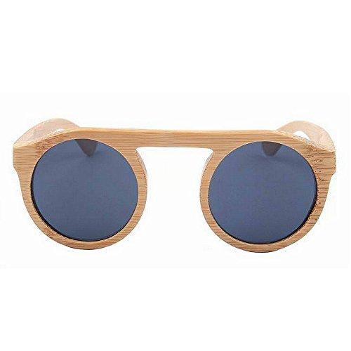 de a al Sol Mujer polarizado Gafas de Personalidad Mano Pesca l bambú Lente Tonos Moda Sol Aire Gris UV Color Hecho de Playa Gafas TAC conducción Redondo protección Vacaciones de Retro fxF8Pq