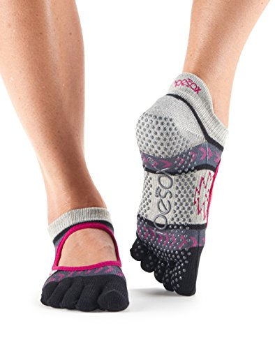 Toesox Women's Bellarina Full Toe Grip Socks (Moonshadow) Small
