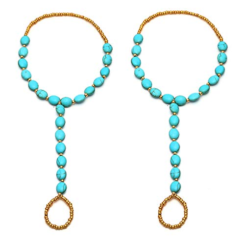 SUNSCSC 1 Pair Sandal Beach Turquoise Barefoot Sandal Foot Jewelry Anklet Chain Foot Bracelet