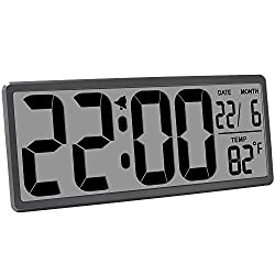 TXL 13.9 Jumbo LCD Digital Alarm Clock Battery Operated Extra Large Wall Clock Display 4.6 Bold Font/Temperature/Calendar/Alarm Energy Saving Kitchen Office Shelf Clocks Without Backlight, Rifle