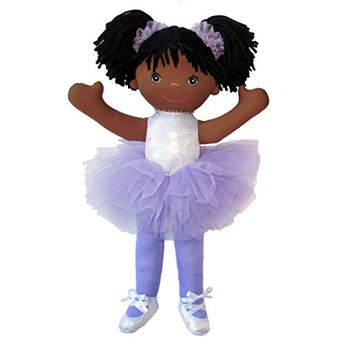 """Search : Anico Well Made Play Doll For Children Ballerina with Pigtails, African American, 18"""" Tall, Lavender"""