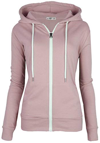 - MAJECLO Women's Casual Full-Zip Hooded Lightweight Long Sleeve Sweatshirt(Medium, Pink)