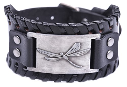 Antique Victorian Silver Bangle - TEAMER Vintage Dragonfly Braided Wide Leather Bracelet Dragonfly Jewelry Cuff Bangle Women Men Jewelry (Antique Silver,Black)