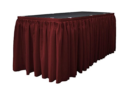 LA Linen Polyester Poplin Pleated Table Skirt with 10 Large Clips, 14-Feet by 29-Inch, Burgundy (Burgundy Table Skirt)