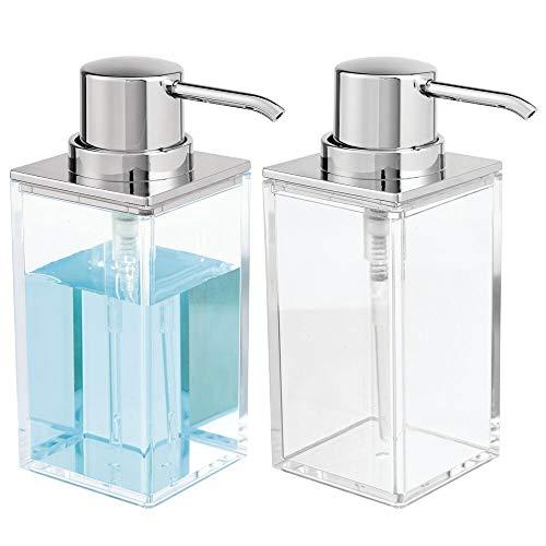 mDesign Square Plastic Refillable Liquid Soap Dispenser Pump Bottle for Bathroom Vanity Countertop, Kitchen Sink - Holds Hand Soap, Dish Soap, Hand Sanitizer, Essential Oils - 2 Pack - Clear/Chrome (Soap Bath Dispenser)