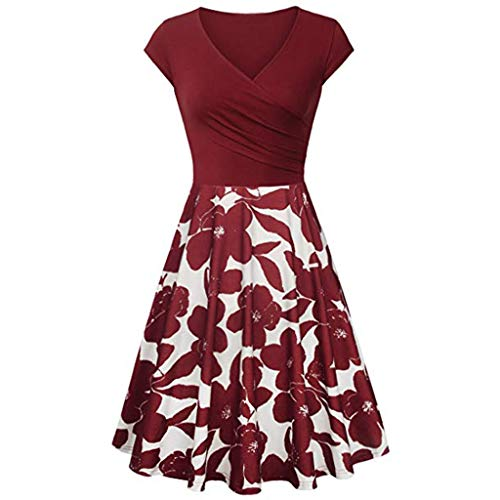 Plus Size Dresses for Women V Neck Cocktail Dress Vintage Floral Bridesmaid Evening Sleeveless Flared A-Line Dress Wine
