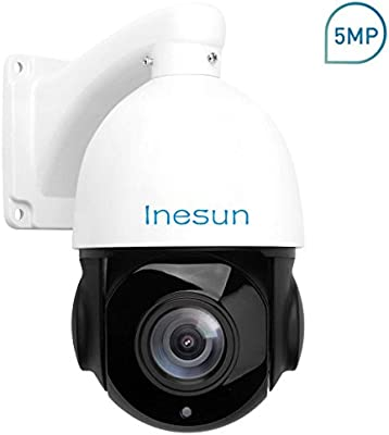 Inesun PTZ IP Security Camera 5 Megapixels Super HD 2592x1944 Pan Tilt 18X  Optical Zoom H 264/H 265 Medium Speed Dome IP Camera 4 5 Inch Mini IP66
