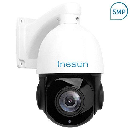 Inesun PTZ IP Security Camera 5 Megapixels Super HD 2592x1944 Pan Tilt 18X Optical Zoom H.264/H.265 Medium Speed Dome IP Camera 4.5 Inch Mini IP66 Waterproof Outdoor IR Camera Support Onvif 2.4
