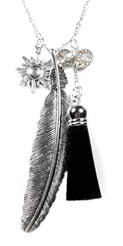 Beautiful Silver Jewelry Feather and Sun Charm Necklace with Tassel on Silvertone 28 Inch Long Chain in Gift Box by Beautiful Silver Jewelry (Image #3)