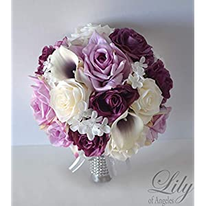 Wedding Bouquet, Bridal Bouquet, Bridesmaid Bouquet, Silk Flower Bouquet, Wedding Flower, Mauve, lilac, dusty pink, eggplant, lavender, wisteria, purple, plum, ivory, Champagne, Lily of Angeles 62