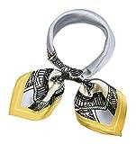Corciova 21 Inches 100% Real Silk Neck Scarf Small Square Scarves Neckerchiefs Pale Aqua USC Gold Polygon