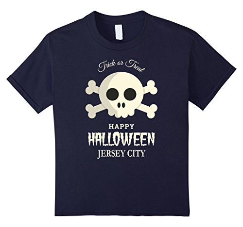 90 Costumes Party City (Kids Jersey City Trick or Treat Happy Halloween Party T Shirt 12 Navy)