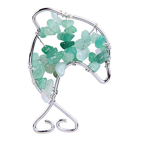 Statues Sculptures - Green Aventurine Stone Chips Crystal Beads Handmade Stainless Steel Alloy Wire Dolphin Shape Pendant - Sculptures Statues Statues Sculptures Green Stone Quartz Pendant