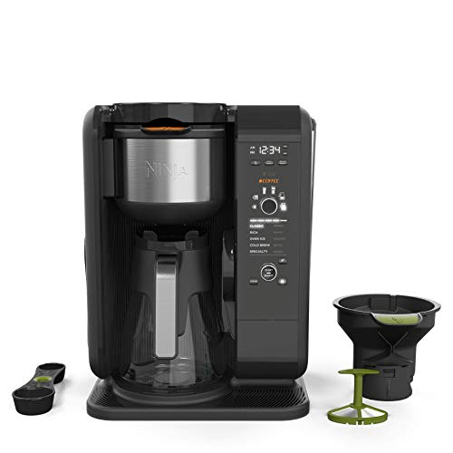Grinder Deluxe Automatic Coffee - Ninja Hot and Cold Brewed System, Auto-iQ Tea and Coffee Maker with 6 Brew Sizes, 5 Brew Styles, Frother, Coffee & Tea Baskets with Glass Carafe (CP301)