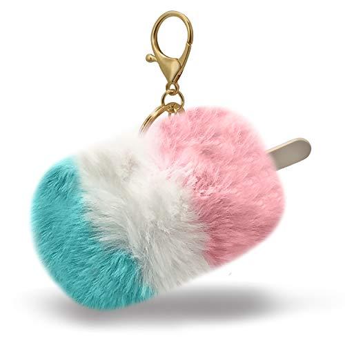 Kawaii Cotton Candy Sky Ice Cream Popsicle with Stick Fun Fuzzy Pom Summer Keychain Bag Charm (Ice Cream Keychain)