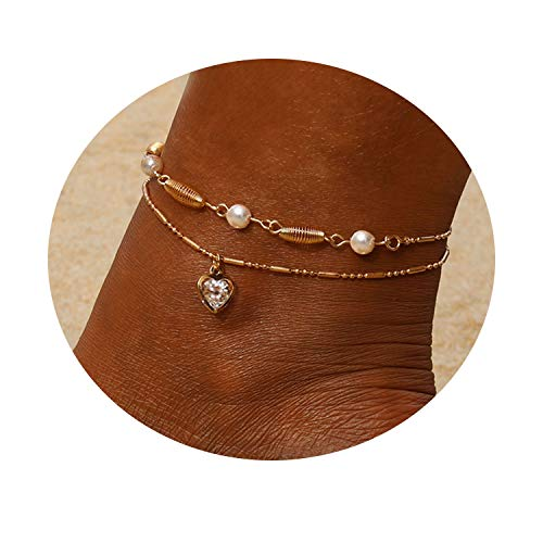 - Heart Multilayer Metal Anklet Zircon Pearl Crystal Shell Adjustable Tassel Anklet Beads Sea Handmade Layered Boho Anklet Foot Jewelry Rose Gold Chain Anklet Heart Beach Anklet for Women and Girls