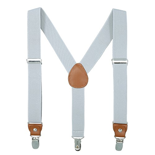 Children Boys and Adults Suspenders - Extra Sturdy Polished Metal Clips (Light gray 27 inches ()