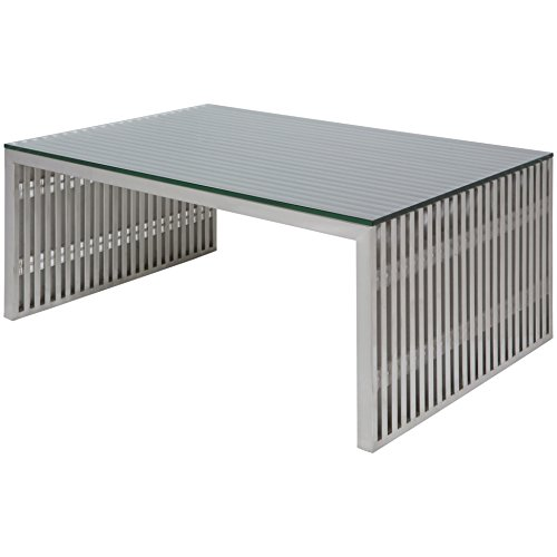 Amici Rectangular Stainless Steel Coffee Table with Tempered
