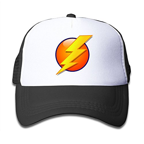 Bolt Hat (Oiir Ooiip Fired Golden Lightning Bolt and Sun Boys-Girl Mesh Cap Kids Trucker Hat)
