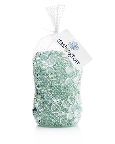 Dashington Flat Clear Marbles, Pebbles (5 Pound Bag) for Vase Filler, Table Scatter, Aquarium - Multi Gems Gold Colored