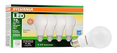 Sylvania Home Lighting 74425 A19 Sylvania Ultra 75 W Equivalent LED Light Bulb, Dimmable, Efficient 12 W 2700K (4 Pack), Soft White, 4 Piece
