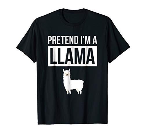 Pretend I'm A Llama T Shirt Simple Halloween Costume Shirt