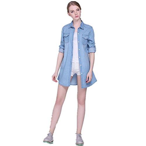 SHISHANG camisa de algodón de las mujeres de verano en Europa de las mujeres Station nueva capa de color sólido de manga larga sección delgada temperamento luz azul y azul oscuro Light Blue