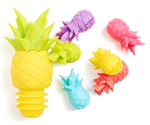NOD Products Glass Markers and Stopper Set - Pineapple - Each Set Includes (6) Markers + (1) Stopper by nod products