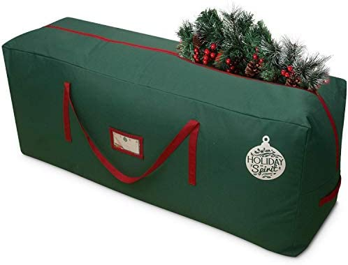 HOLIDAY SPIRIT Christmas Tree Storage Bag For Trees. Heavy-Duty 600D Oxford Material With Durable Reinforced Handles & Zipper, Waterproof Material Protects from Moisture & Dust (Green, Fits a 9FT Tree)