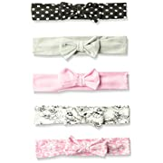 Hudson Baby Girls' Headband, 5 Pack, Black/White Polka dots, 0-24 Months