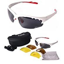 Luna White POLARIZED SUNGLASSES FOR SPORTS UV400 With Interchangeable Lenses