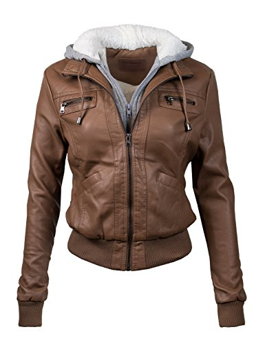 Price comparison product image BBP Hooded Faux Leather Bomber Jacket Fur Lining Camel XL