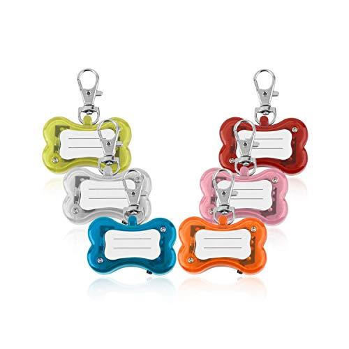 ZZmeet Pet Dog ID Tags Lights Pendants Flash Bone Safety Pendant Collar Circular Clip Light Pendant for Small Dog cat - 600 Pendant Series