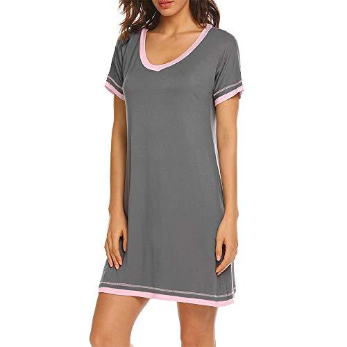 FerDIM Womens Pajama Sleep Shirt, Cotton Sleepwear Short Nightgowns Knit Sleepshirts Grey M