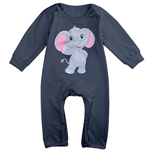 Piggie And Elephant Costumes (Baby Infant Romper Baby Elephant Long Sleeve Playsuit Outfits Navy 12 Months)