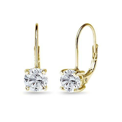 (Yellow Sterling Silver 6mm Round-Cut Created White Sapphire Leverback Earrings)