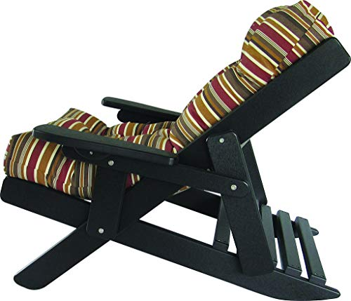 (Furniture Barn USA Adirondack Poly Lumber Folding Sling Back Siesta Chair with Thick Cushion - Brannon Redwood)