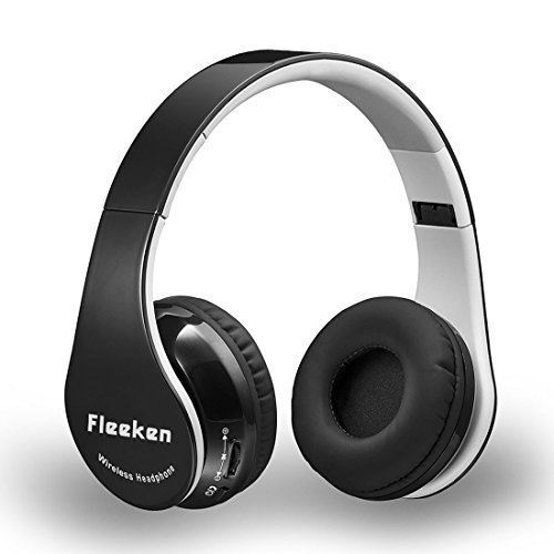 fleeken wireless bluetooth over ear headphones stereo foldable headsets with microphone and. Black Bedroom Furniture Sets. Home Design Ideas
