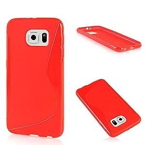 Galaxy S6 Funda, AOBD [Rojo] S-Line Suave Flexible Carcasa Protección Funda Soft Case Cover para Samsung Galaxy S6 SM-G920