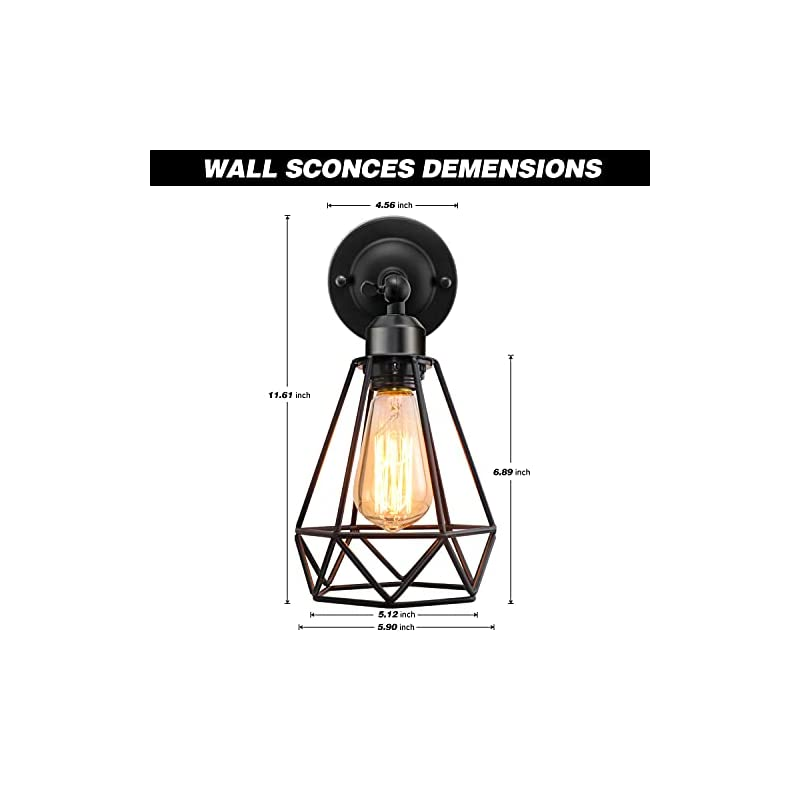 Industrial Wall Sconce 2 Pack, Wire Cage Wall Sconce, Vintage Wire Cage Wall Lighting Sconce, Adjustable Vintage Wall…