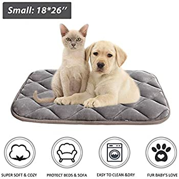 furrybaby Dog Bed Mat Crate Mat with Anti-Slip Bottom Machine Washable Pet Mattress for Dog Sleeping (S 26x18'', Sliver Grey Mat)