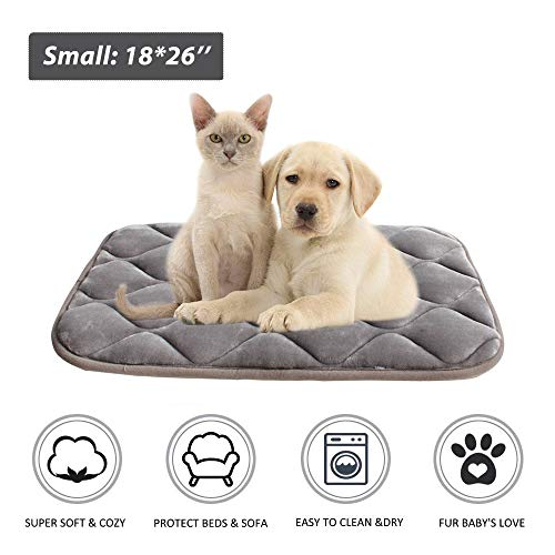 Furrybaby Dog Bed Mat Crate Mat with Anti-Slip Bottom Machine Washable Pet Mattress for Dog Sleeping (S 28x18