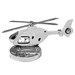 StealStreet SS-KD-3556-WHITE Die Cast Metal Helicopter Analog Clock and Paperweight, 4, White