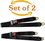 Universal Lap Seat Belt,2 Point Adjustable Seat Safety Belts,Durable Polyester Fabric Seat Belts for UTV,Go Kart,Van,VR,Truck,Buggies,Club Golf Cart,Cars and Vehicles,Black