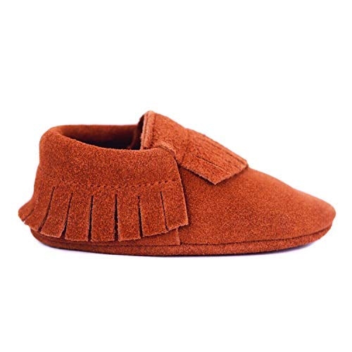 Baby Moccasins for Boys & Girls. Premium Leather Suede Infant & Toddler Moccasins, Maple Sugar, XL